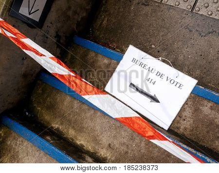 STRASBOURG FRANCE - MAY 7 2017: Bureau de vote sign on floor near pooling place during the second round of the French presidential election to choose between Emmanuel Macron and Marine Le Pen