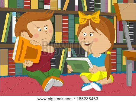 Little girl wants to exchange books but the boy is against it sitting on the floor in library