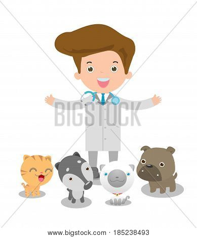 Vector illustration of a male veterinary physician and pets: cat, dog.