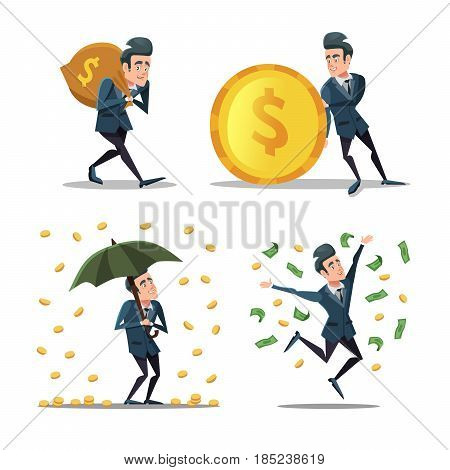 Successful Businessman with Money Rain. Rich Man. Vector cartoon illustration