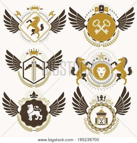 Vector Classy Heraldic Coat Of Arms. Collection Of Blazons Stylized In Vintage Design And Created Wi