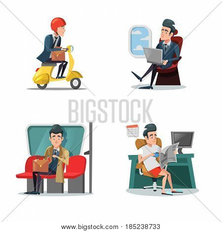 Businessman at Work. Business Lifestyle. Vector cartoon illustration