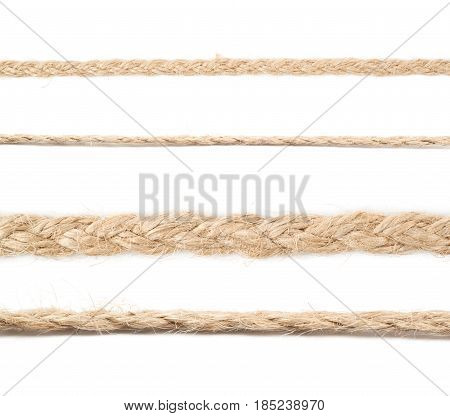 Line of a twisted decorational linen rope string isolated over the white background, set of four different foreshortenings