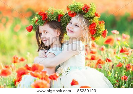 little girl model, poppies, summer fashion concept - girly games on the field of blooming poppies, two girlfriends hugging, they are happy, smiling, on the heads exquisite wreath of fresh poppies