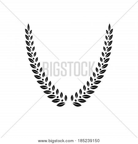 Laurel Wreath Floral Emblem Created In V Shape. Heraldic Coat Of Arms Decorative Logo Isolated Vecto