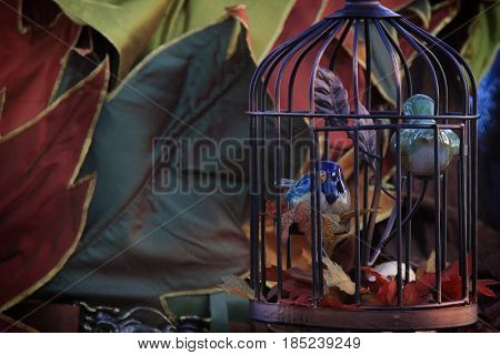 Porcelain birds in a cage with autumn leaves.