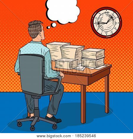 Overworked Businessman with Stack of Papers. Overtime at Work. Pop Art vector illustration