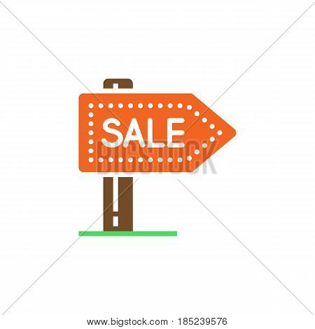 Sale Signpost Icon Vector, Filled Flat Sign, Solid Colorful Pictogram Isolated On White, Logo Illust