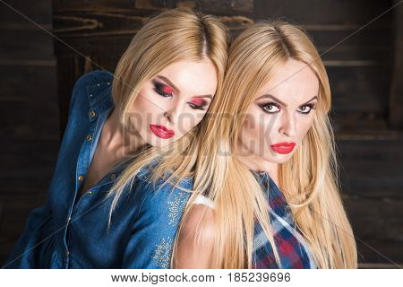 Makeup And Hairstyle, Twin Sisters, Lesbian And Gay, Homosexual Love