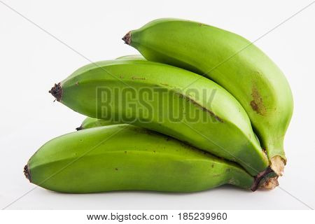 poster of Type of banana called guineo or bocadillo (Musa acuminata) isolated in white background