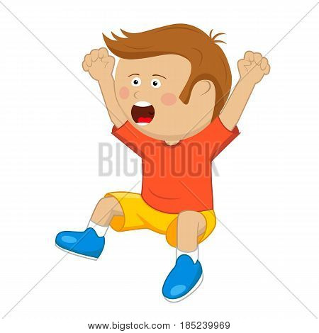 Cute little boy with raised up cheering and jumping over white background