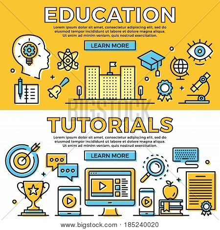 Education, tutorials thin line banners set. Learning concepts. Flat design, line icons set. Modern objects for web banners, web sites, advertising, infographics. Premium quality. Vector illustration