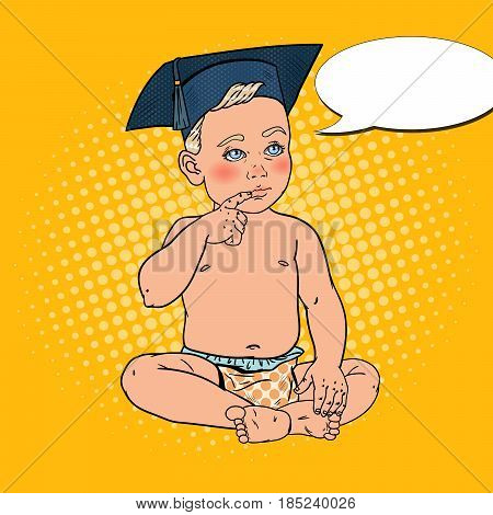 Baby Boy in Bachelor Cap. Early Education Concept. Pop Art vector illustration