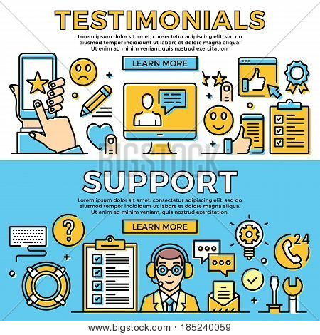 Testimonials, support thin line banners set. Customer support, feedback concept. Modern flat design elements, line icons set for web banner, web site, infographic. Premium quality. Vector illustration