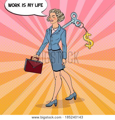 Mechanical Business Woman Going to Work with Dollar Sign Key on her Back. Pop Art vector illustration