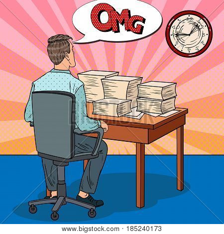 Busy Businessman with Stack of Papers. Overtime at Work. Pop Art vector illustration