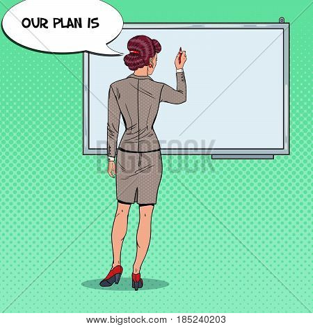 Business Woman Drawing on the Whiteboard. Pop Art vector illustration