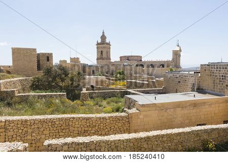 An image of a section of the old Citadella and surrounding stone walls Victoria Gozo
