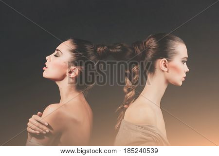 Girls With Braided Long Hair Into Braid