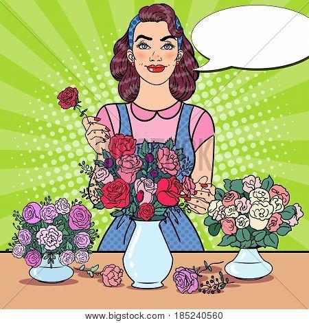 Smiling Female Florist Making Bunch of Flowers. Pop Art vector illustration