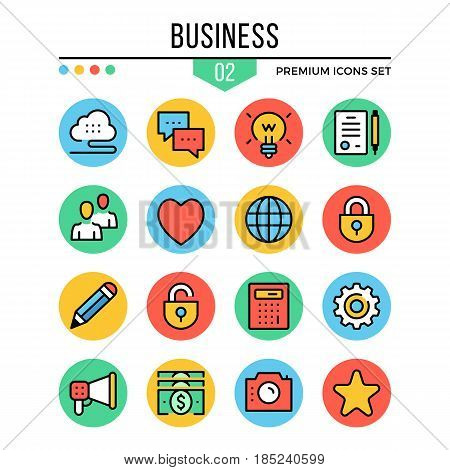 Business icons. Modern thin line icons set. Premium quality. Outline symbols, graphic elements, concepts, buttons, flat line icons for web design, mobile apps, ui, infographics. Vector illustration