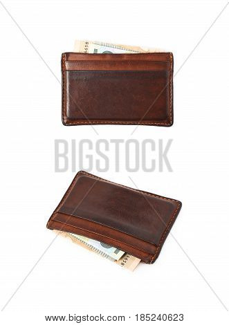 Leather card holder wallet isolated over a white background, set of two different angles.