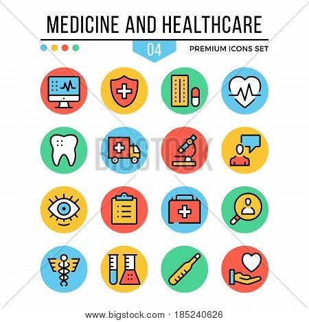 Medicine and healthcare icons. Modern thin line icons set. Premium quality. Outline symbols, graphic concepts, flat line icons for web design, mobile app, ui, infographic. Creative vector illustration