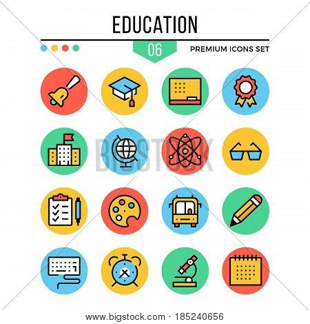 Education icons. Modern thin line icons set. Premium quality. Outline symbols, graphic elements, learning concepts, flat line icons for web design, mobile apps, ui, infographics. Vector illustration