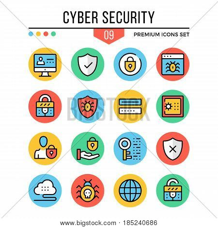 Cyber security icons. Modern thin line icons set. Premium quality. Outline symbols, graphic elements, concepts, flat line icons for web design, mobile apps, ui, infographics. Vector illustration