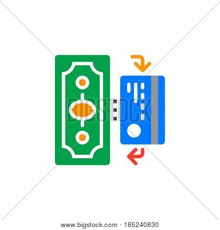 Cash And Cashless Payments Icon Vector, Filled Flat Sign, Solid Colorful Pictogram Isolated On White