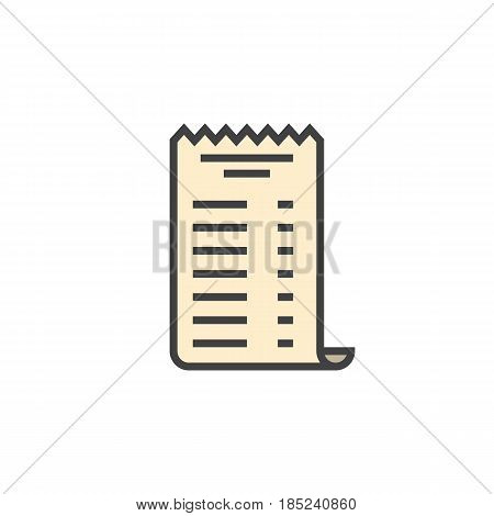 Paper Check Receipt Line Icon, Filled Outline Vector Sign, Linear Colorful Pictogram Isolated On Whi