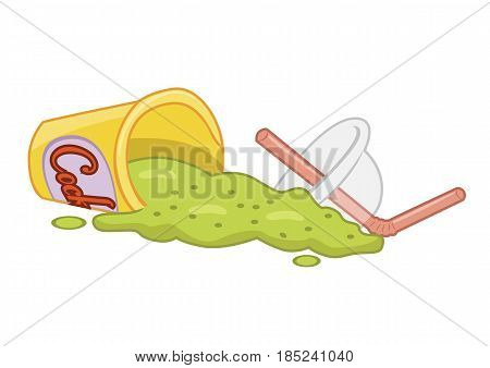 Spilled fast food beverage isolated over a white background