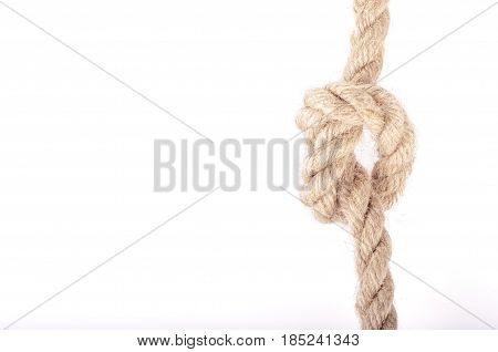Rope knot as a strong nautical marine line tied together as a symbol for trust and strenght