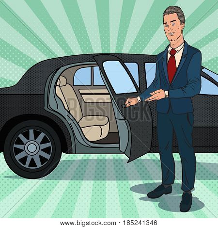 Driver Waiting ner Black Limousine. Chauffeur of Luxury Car. Pop Art vector illustration