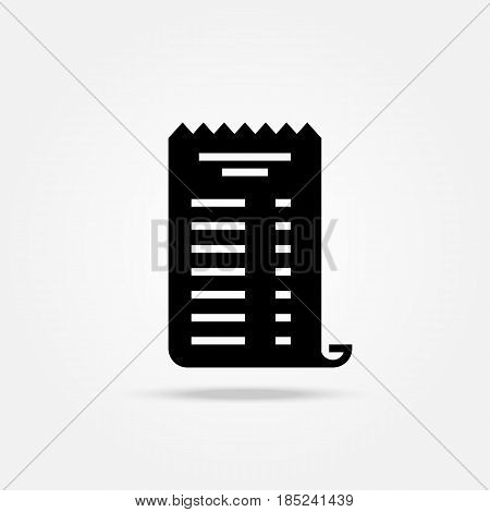 Paper Check Receipt Icon Vector, Filled Flat Sign, Solid Pictogram Isolated On White, Logo Illustrat