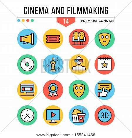 Cinema and filmmaking icons. Modern thin line icons set. Premium quality. Outline symbols, graphic concepts, elements, flat line icons for web design, mobile app, ui, infographics. Vector illustration
