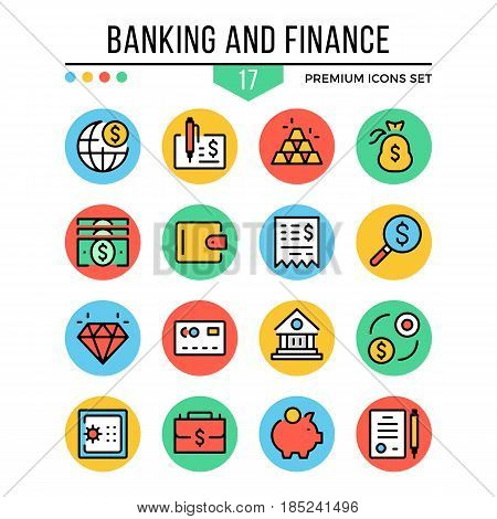 Banking and finance icons. Modern thin line icons set. Premium quality. Outline symbols, graphic elements, concepts, flat line icons for web design, mobile apps, ui, infographics. Vector illustration