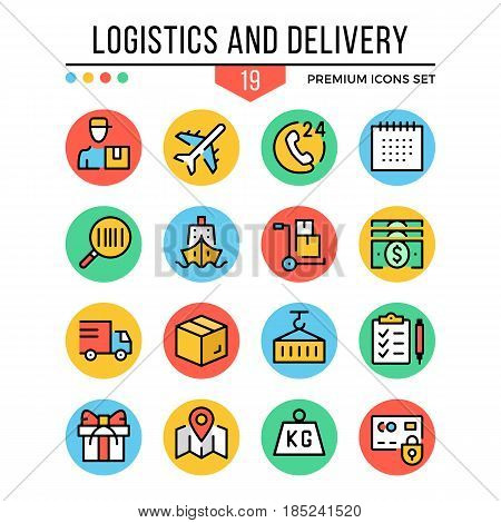Logistics and delivery icons. Modern thin line icons set. Premium quality. Outline symbols collection, graphic concept, flat line icons for web design, mobile app, ui, infographic. Vector illustration