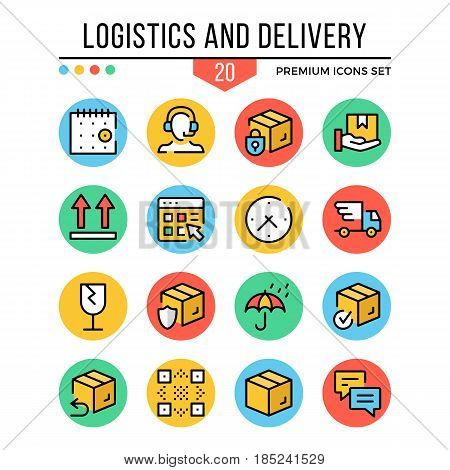 Logistics and delivery icons. Modern thin line icons set. Premium quality. Outline symbols, graphic elements, concept, flat line icons for web design, mobile app, ui, infographics. Vector illustration