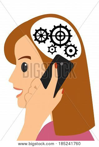 Head and gears. Young woman talking on the phone on white