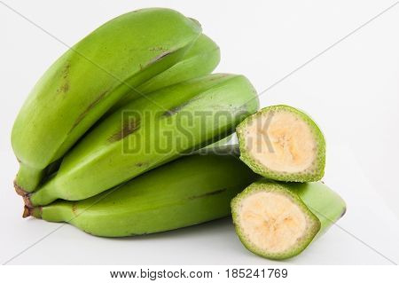 Type of banana called guineo or bocadillo (Musa acuminata) isolated in white background poster