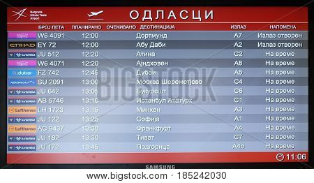 BELGRADE, SERBIA - FEBRUARY 06: Flight board at the airport in Belgrade airport, on February 06, 2016 in Belgrade, Serbia.