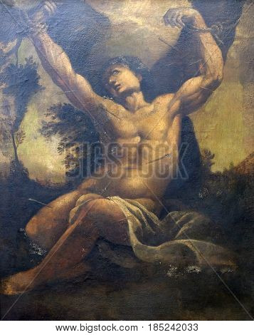 DUBROVNIK, CROATIA - NOVEMBER 08: Saint Sebastian by the unknown painter from 17th century in the convent of the Friars Minor in Dubrovnik, November 08, 2016.
