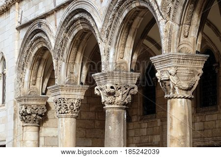 DUBROVNIK, CROATIA - NOVEMBER 07: Columns and exterior of the Duke's Palace (Knezev dvor) in the Old Town of Dubrovnik, Croatia on November 07, 2016.