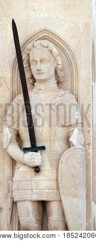 DUBROVNIK, CROATIA - NOVEMBER 07: Orlando's Column, oldest preserved secular sculpture in Dubrovnik, Croatia, on November 07, 2016.