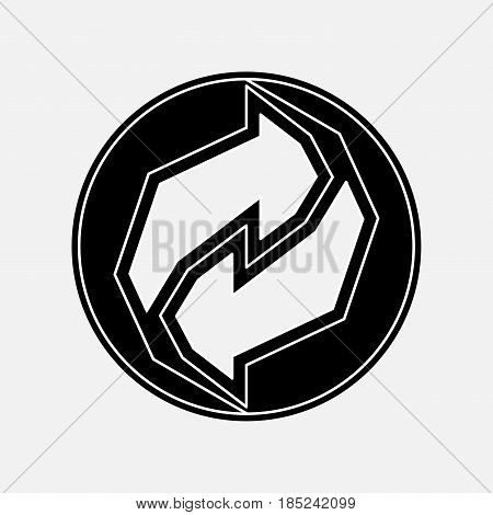 recycling icon black and white image rotate the arrow fully editable vector image