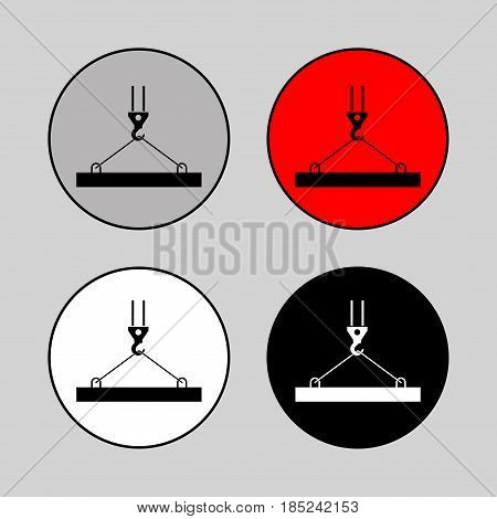 pictograph crane hook lifting work Crane installation works building fully editable vector image