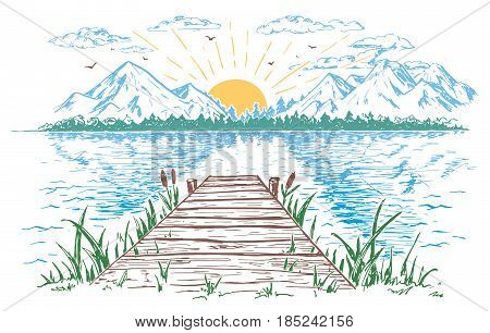 Rising sun on the lake landscape with a bridge. Hand-drawn vintage illustration. Sketch in the open air isolated on white background