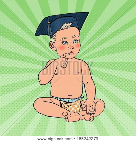 Baby Boy in Bachelor Hat. Early Education Concept. Pop Art vector illustration
