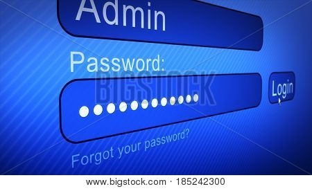 Login Box - Username and Password in Internet Browser on Computer Screen